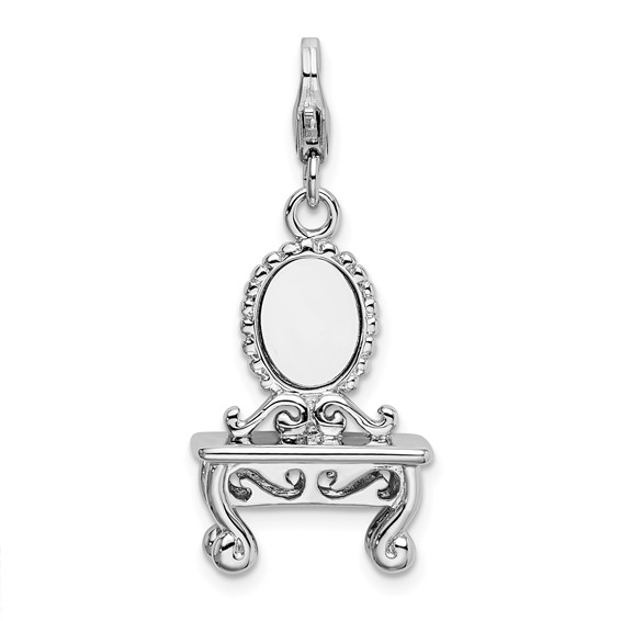 Sterling Silver 3-D Vanity with Lobster Clasp Charm