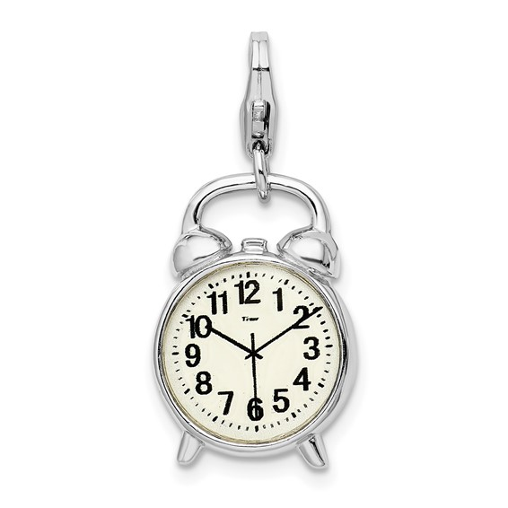 Sterling Silver 3-D Alarm Clock with Lobster Clasp Charm