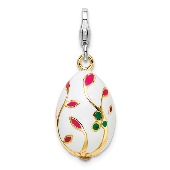 Sterling Silver 3-D Enameled Gold-plated White Egg Charm