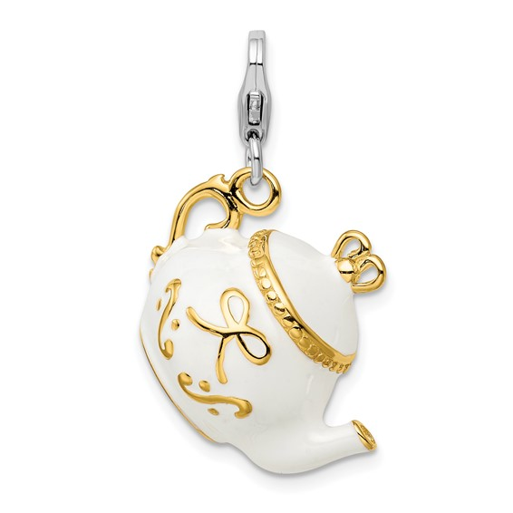 Sterling Silver Gold-plated WhiteEnameled Tea Pot with Lobster Clasp Charm