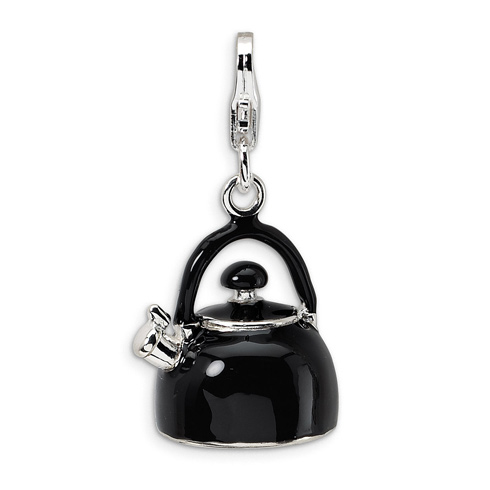 Sterling Silver 3-D Enameled Black Tea Kettle with Lobster Clasp Charm