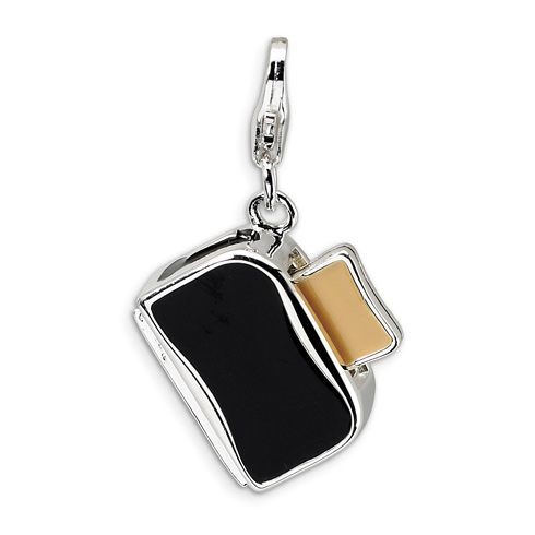 Sterling Silver 3-D Enameled Toaster with Toast Charm