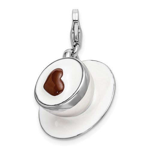 Sterling Silver 3-D Enameled Cappuccino with Lobster Clasp Charm