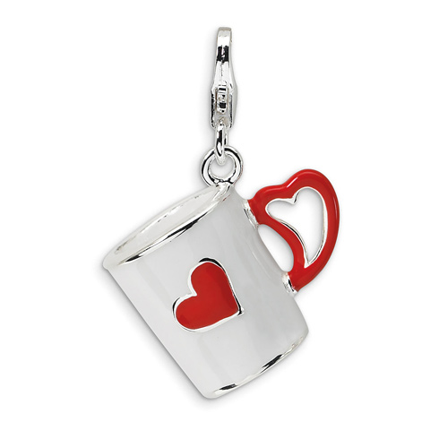 Sterling Silver 3-D Enameled Coffee Cup with Heart with Lobster Clasp Charm