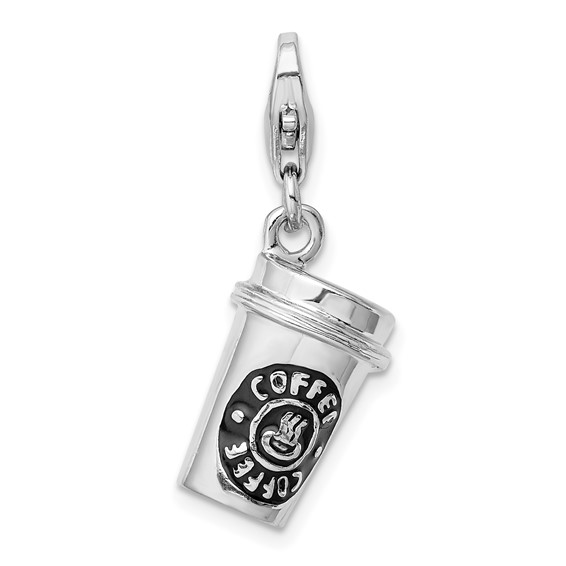 Sterling Silver 3-D Enameled To Go Coffee Cup with Lobster Clasp Charm