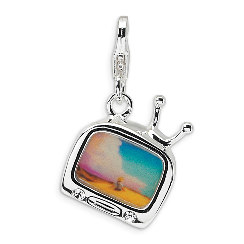 Sterling Silver 3-D Enameled TV with Lobster Clasp Charm