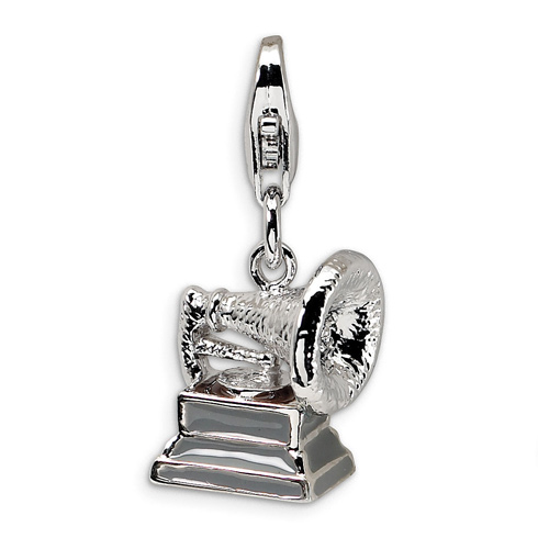 Sterling Silver 3-D Phonograph with Lobster Clasp Charm