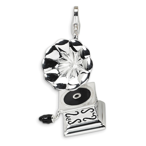 Sterling Silver 3-D Enameled Phonograph with Lobster Clasp Charm