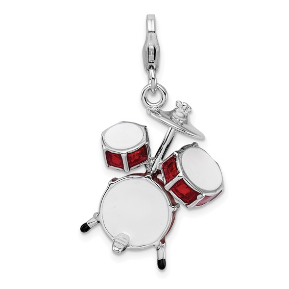 Sterling Silver 3-D Enameled Drum Set with Lobster Clasp Charm