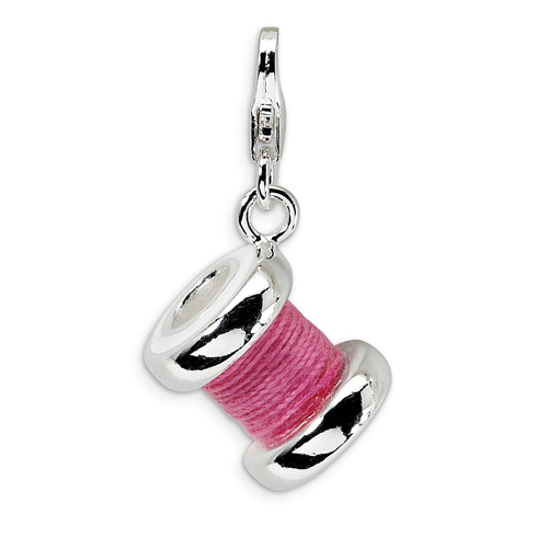 Sterling Silver 3-D Enameled Pink Spool of Thread Charm