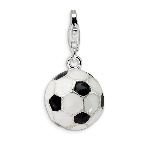 Sterling Silver 3-D Enameled Soccer Ball with Lobster Clasp Charm