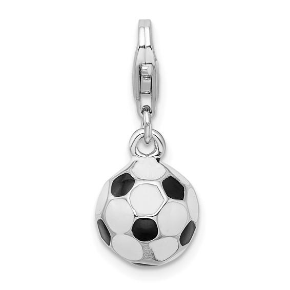 Sterling Silver 3-D Enameled Soccer Ball Charm