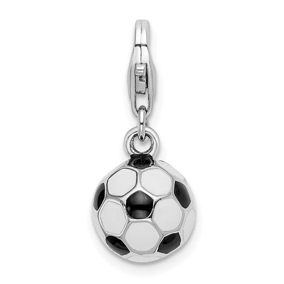 Sterling Silver 3-D Enamel Soccer Ball Charm
