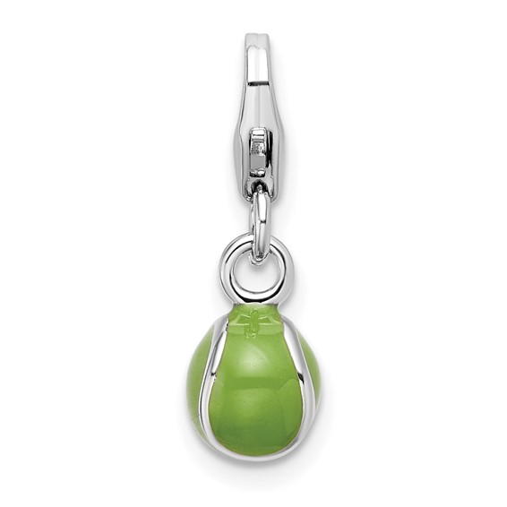 Sterling Silver 3-D Enameled Tennis Ball with Lobster Clasp Charm
