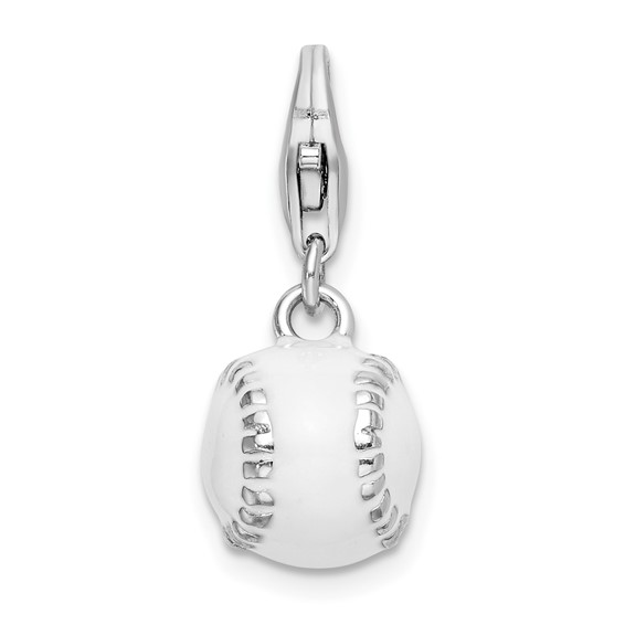 Sterling Silver 3-D Enamel Baseball Charm with Clasp