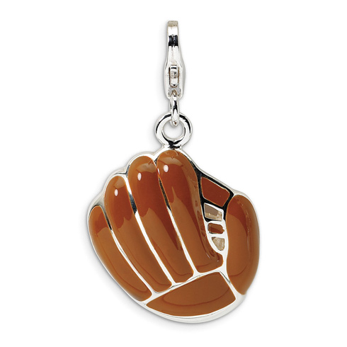 Sterling Silver 3-D Enameled Brown Baseball Mit with Lobster Clasp Charm