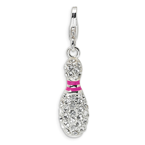 Sterling Silver 3-D Enameled Crystal Bowling Pin Charm