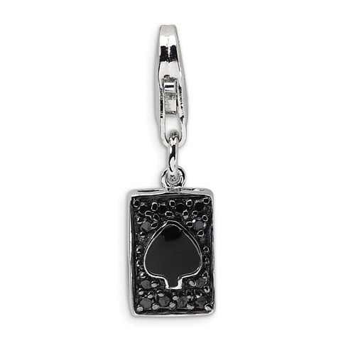 Sterling Silver CZ & Enameled Spade Card with Lobster Clasp Charm