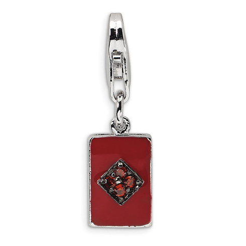 Sterling Silver CZ & Enameled Diamond Card with Lobster Clasp Charm
