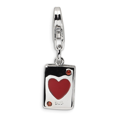 Sterling Silver CZ & Enameled Heart Card with Lobster Clasp Charm