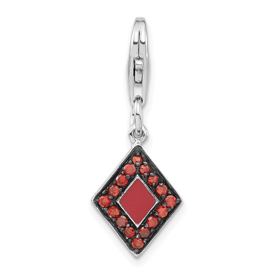 Sterling Silver CZ & Enameled Diamond Shaped with Lobster Clasp Charm