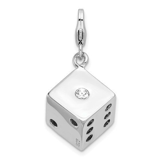 Sterling Silver 3-D Swarovski Crystal Die with Lobster Clasp Charm