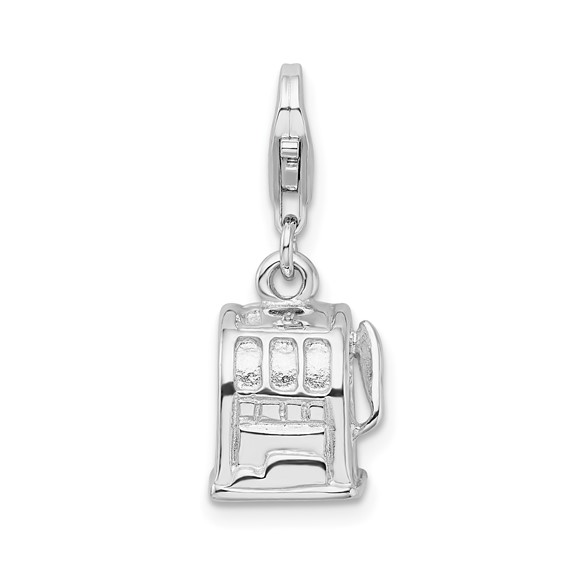 Sterling Silver 3-D Polished Slot Machine Charm
