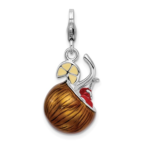 Sterling Silver 3-D Enameled Pina Colada with Lobster Clasp Charm
