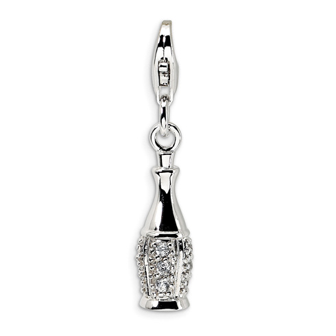 Sterling Silver CZ Champagne Bottle with Lobster Clasp Charm
