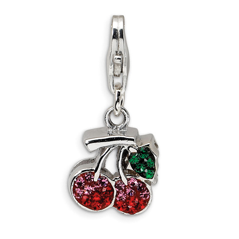Sterling Silver Crystal Cherries with Lobster Clasp Charm