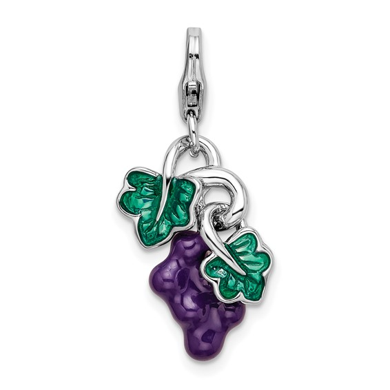 Sterling Silver 3-D Enameled Grapes with Lobster Clasp Charm