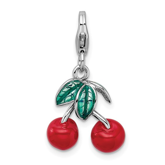 Sterling Silver 3-D Enameled Red Cherries with Lobster Clasp Charm