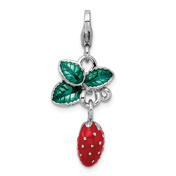 Sterling Silver 3-D Enameled Strawberry with Lobster Clasp Charm