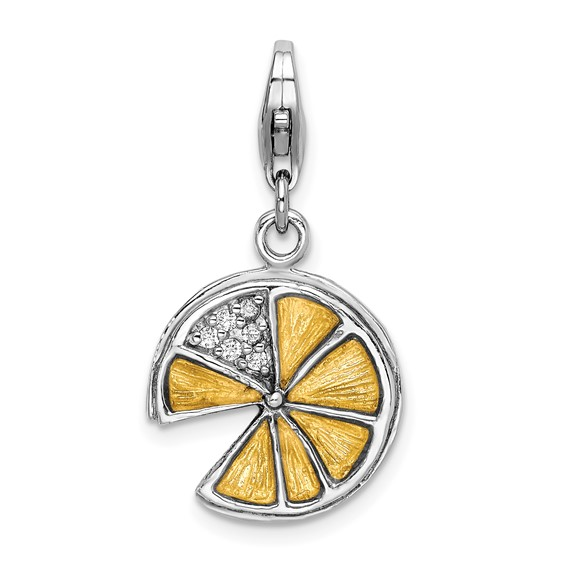 Sterling Silver 3-D Yellow Enamel Lemon Wedge Charm with Clasp
