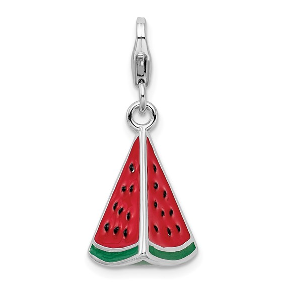 Sterling Silver 3-D Enameled Watermelon Wedge Charm