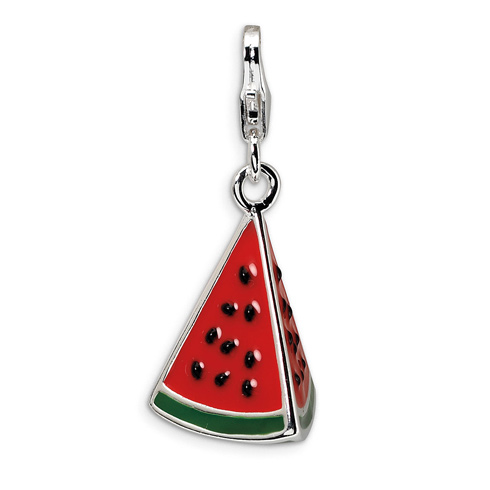 Sterling Silver 3-D Enameled Watermelon Wedge with Lobster Clasp Charm