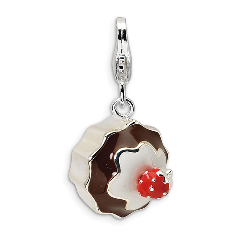 Sterling Silver 3-D Enameled Dessert with Lobster Clasp Charm