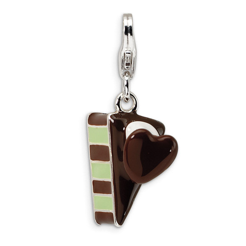 Sterling Silver 3-D Enameled Slice of Cake with Lobster Clasp Charm