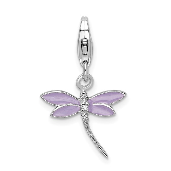 Sterling Silver Lilac Enameled Dragonfly with Lobster Clasp Charm