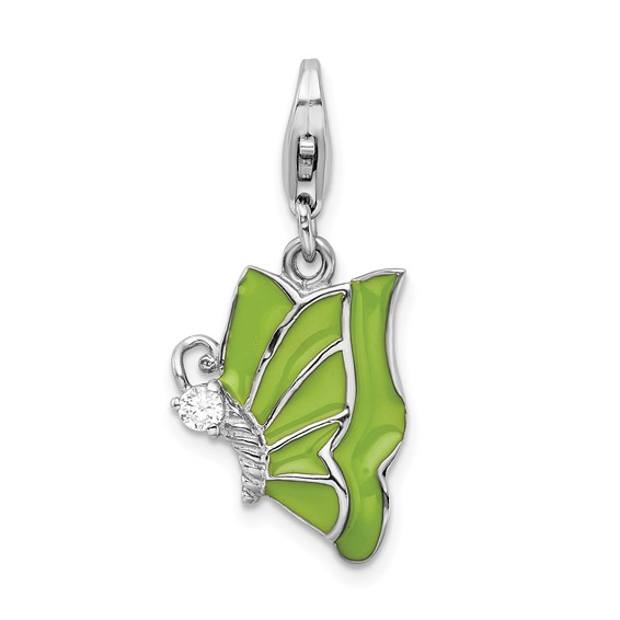 Sterling Silver Green Enameled & CZ Butterfly with Lobster Clasp Charm