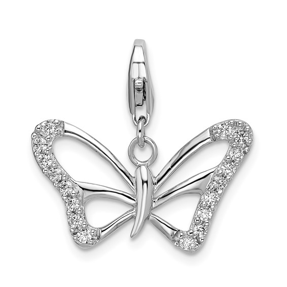 Sterling Silver CZ Butterfly with Lobster Clasp Charm