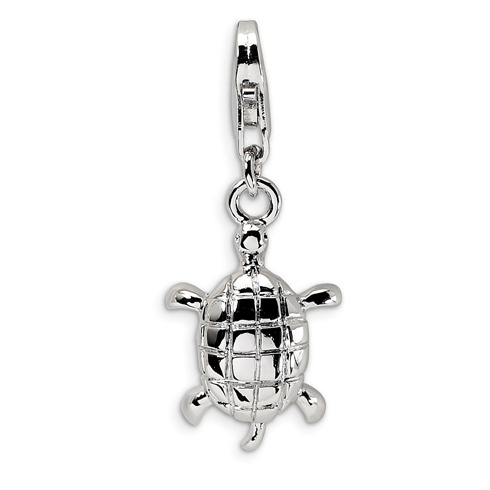 Sterling Silver Turtle with Lobster Clasp Charm