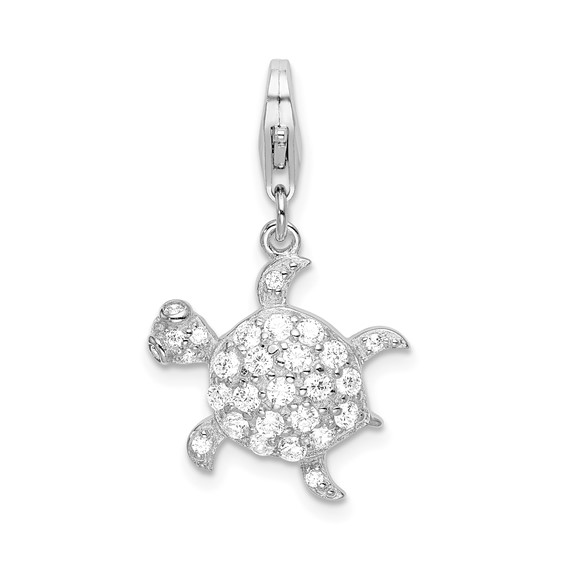 Sterling Silver CZ Sea Turtle with Lobster Clasp Charm
