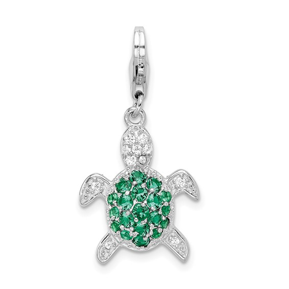 Sterling Silver Green & Clear CZ Turtle with Lobster Clasp Charm