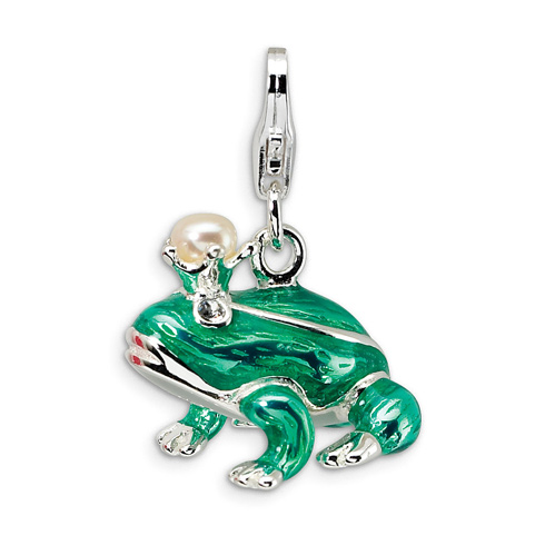 Sterling Silver Enameled Cultured Pearl Crystal Frog Charm