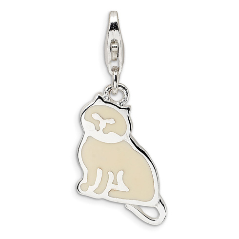 Sterling Silver Polished Enamel Cat with Lobster Clasp Charm