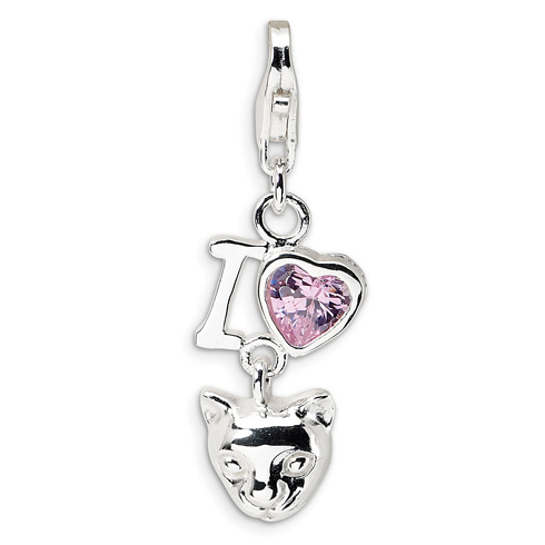Sterling Silver CZ I Love Cats Charm with Lobster Clasp