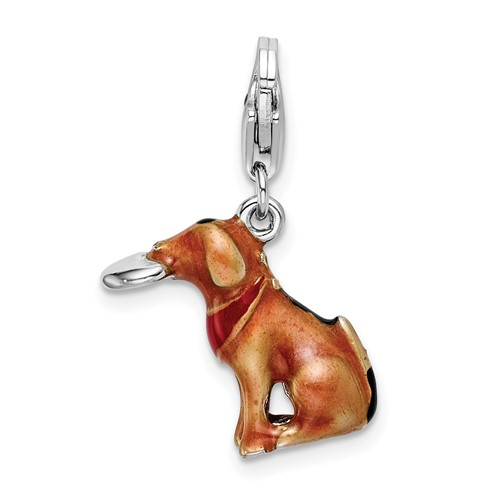 Sterling Silver 3-D Enamel Light Brown Dog & Toy with Lobster Clasp Charm