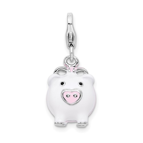 Sterling Silver 3-D Enameled Pig with Lobster Clasp Charm