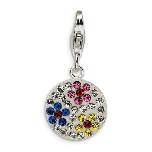 Sterling Silver Multicolored Crystal Flower Disc with Lobster Clasp Charm